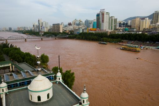 The Yellow River passes through a city in Gansu Province, China.