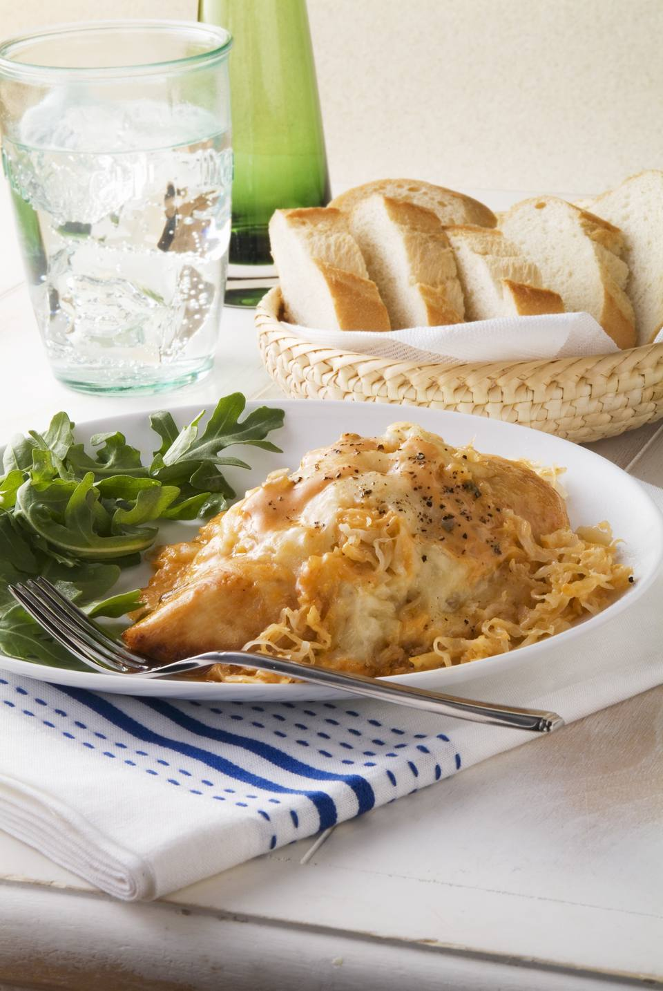 Ruben Style Baked Chicken with Arugula;