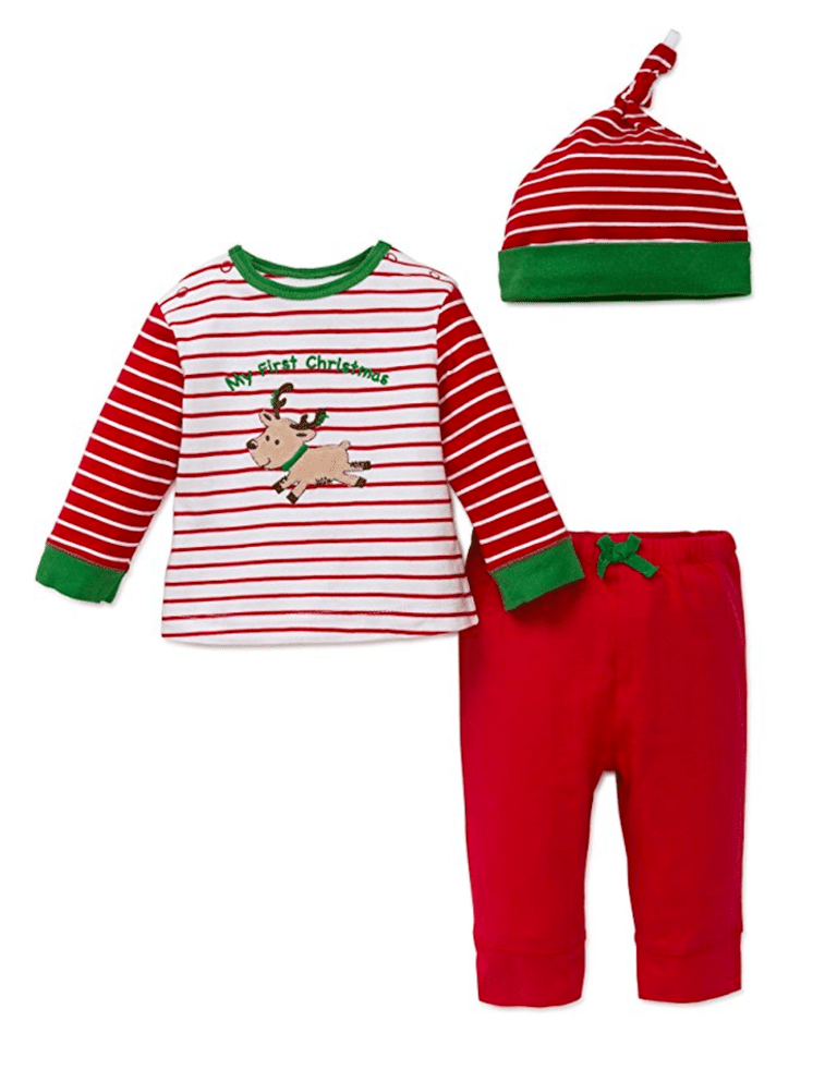 little me baby boys first christmas jogger set and hat
