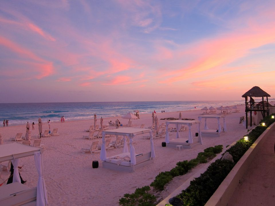 Sunset at Live Aqua Cancun beach resort