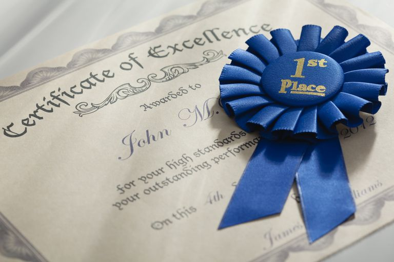 Certificate of excellence and blue ribbon