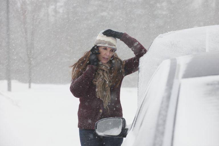 broken down in snow