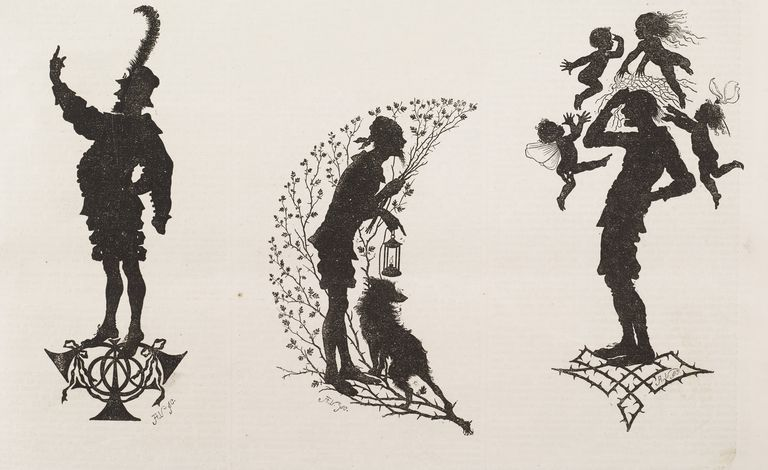 Silhouettes for Midsummer Nights Dream, by William Shakespeare: prologue to play, moonshine, Bottom loses his asss head, illustration from magazine Illustrated London News, volume LV, July 10, 1869