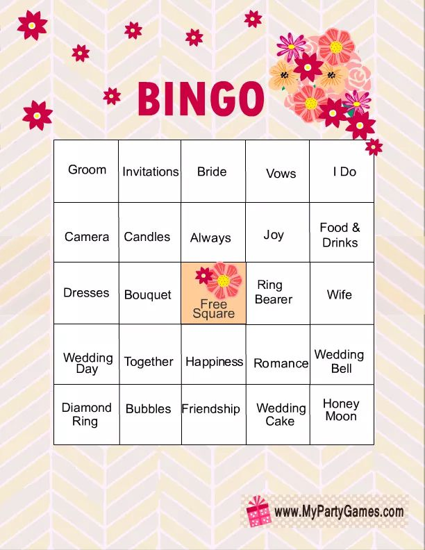 11 Free, Printable Bridal Showers Bingo Cards