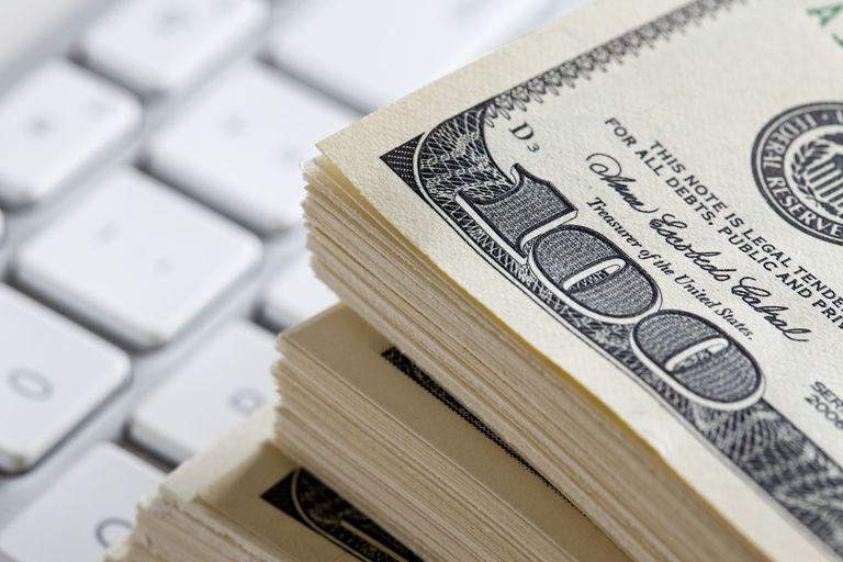 Money on keyboard