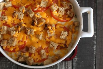 Creamy Chicken And Vegetable Casserole With Soft Bread Cubes