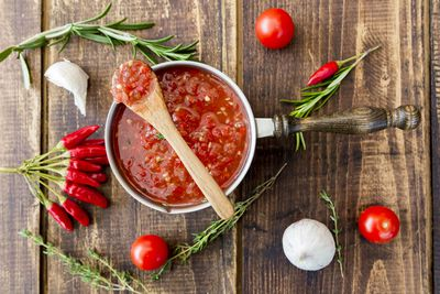 Image result for tomato salsa on wooden table