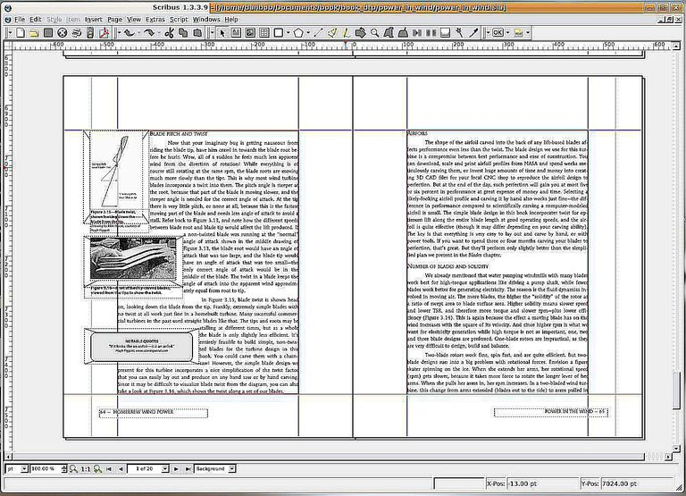 Page layout using Scribus