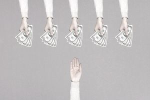 5 hands with cash reaching out to single hand