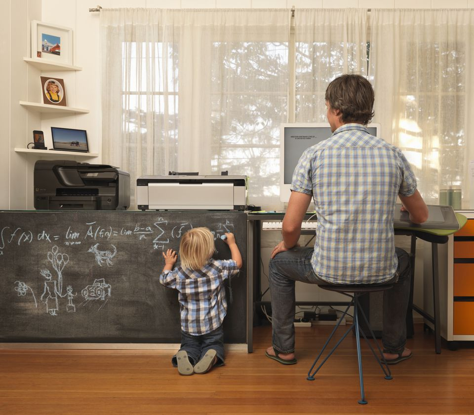 Dad in home office