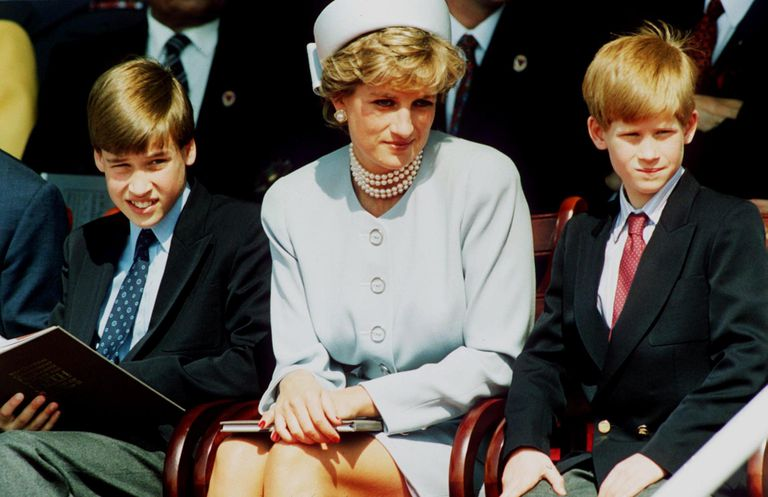 Diana with Prince William and Prince Henry