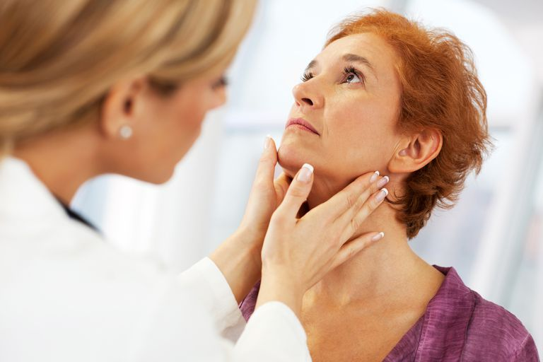 Woman with strep throat consulting doctor