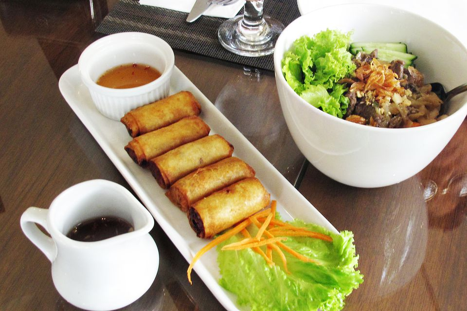 Vietnamese fried spring rolls with nuoc mam pha