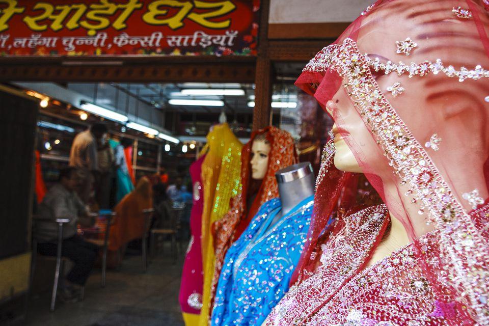Mannequins with silk saris