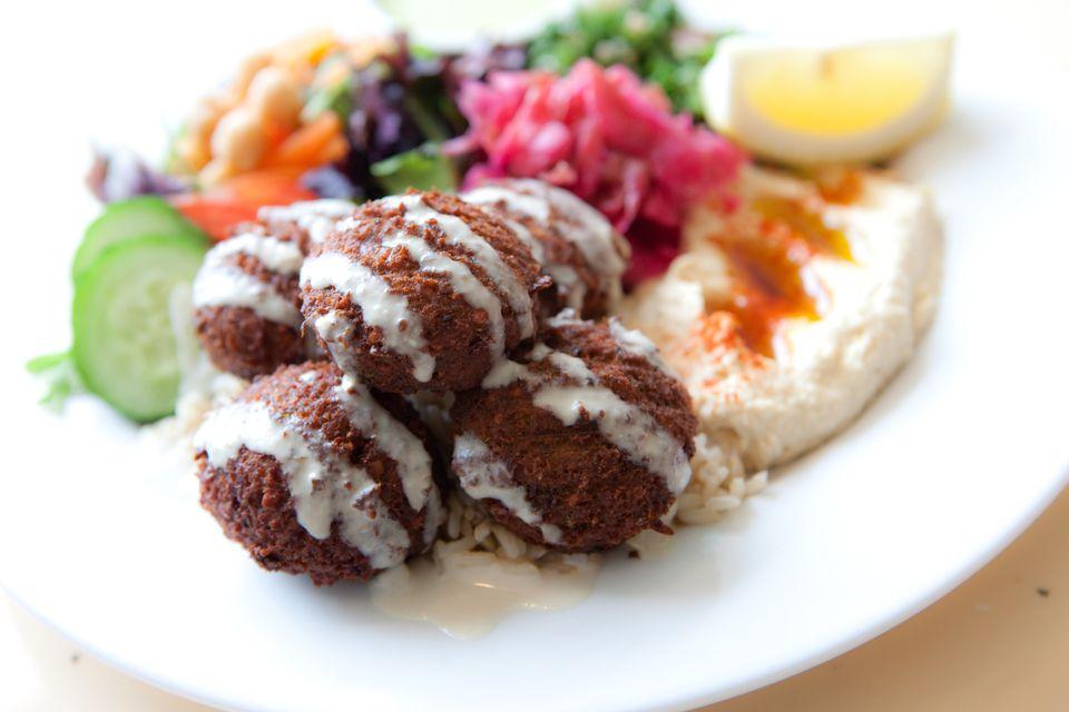 Halal food- Falafel and hummus dish