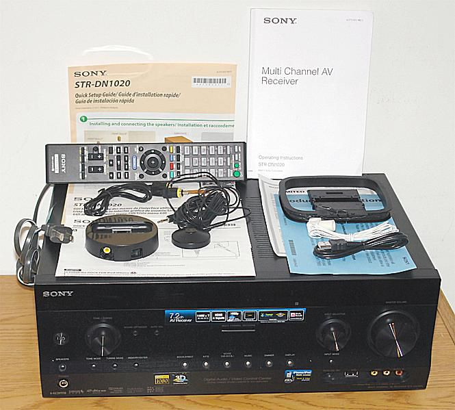Sony STR-DN1020 Home Theater Receiver - Photo - Front View with Included Accessories