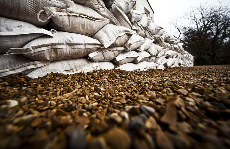 sandbags stacked up