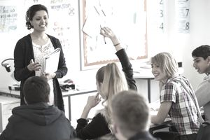 Teenage students learning in classroom