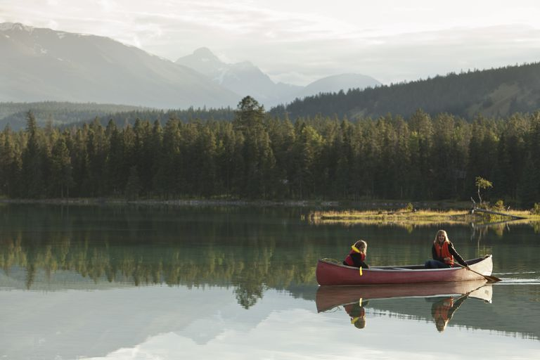 Mother and daughter canoeing on Lake Edith