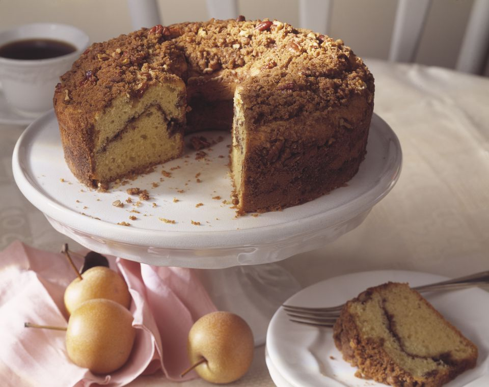 Sour Cream Coffee Cake on Stand