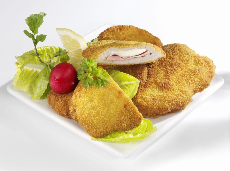 Pork Cordon Bleu with salad garnish