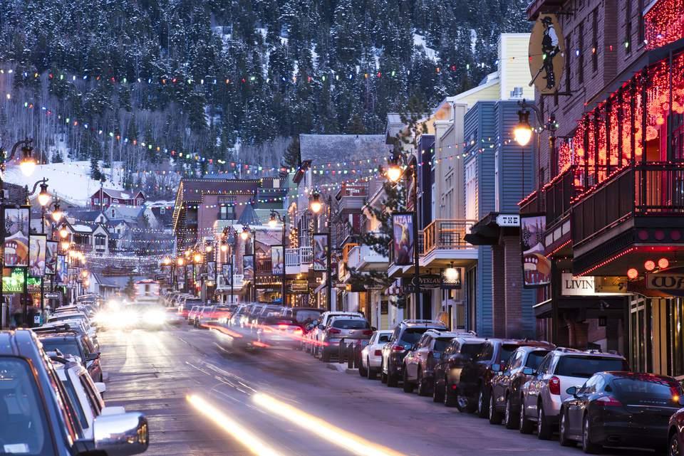 Long exposure of Main St. in Park City, Utah.