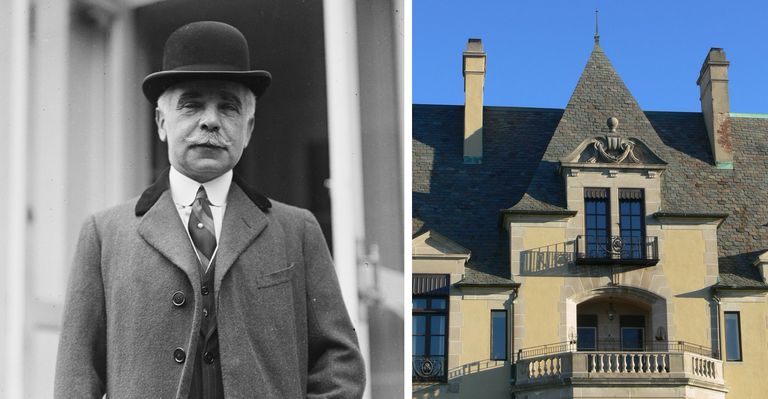Combined image, Black and White photo of Otto Kahn (1867-1934) and Oheka Castle