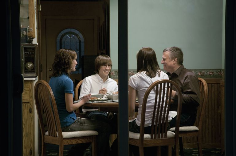 Eating a special meal together is an easy family fun night activity.