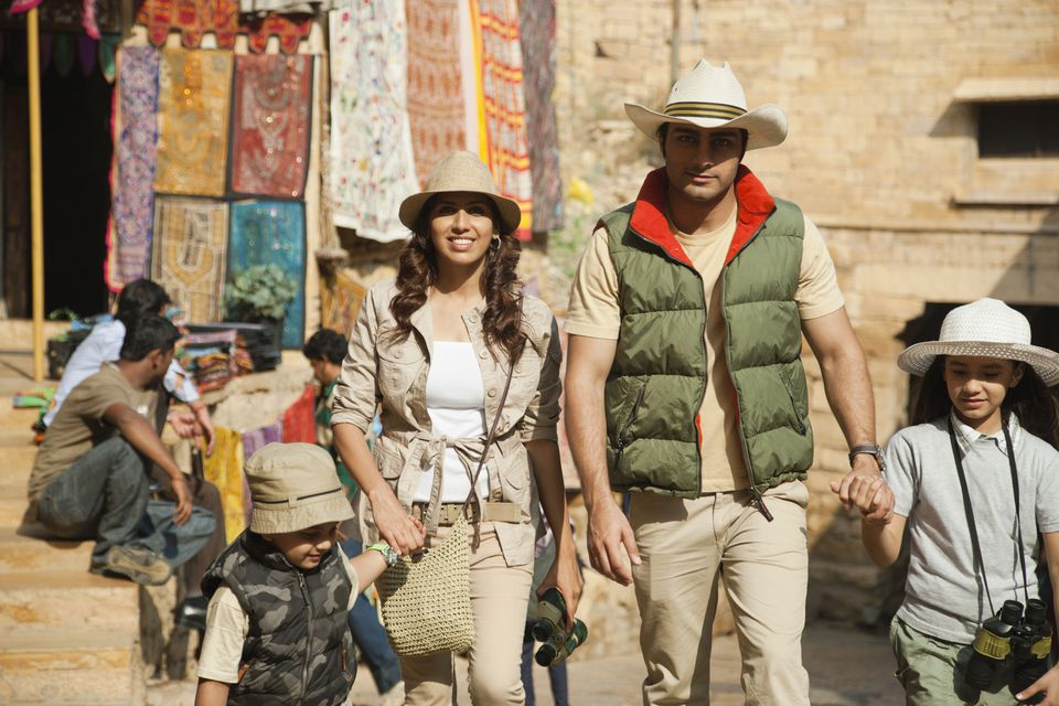 Tourists walking in India.