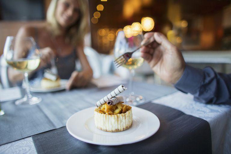 Couple eating dessert in fancy restaurant
