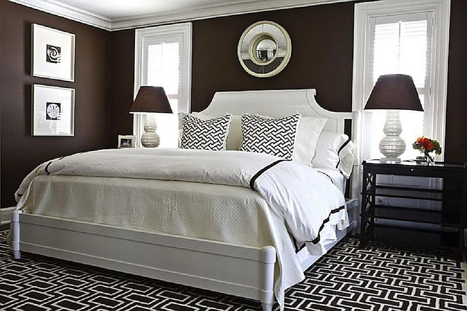 Brown and white bedroom.