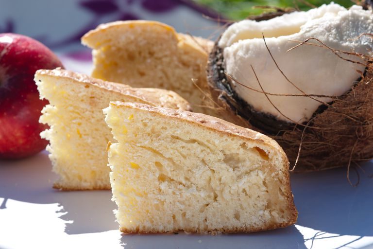 coconut cake with a cracked coconut