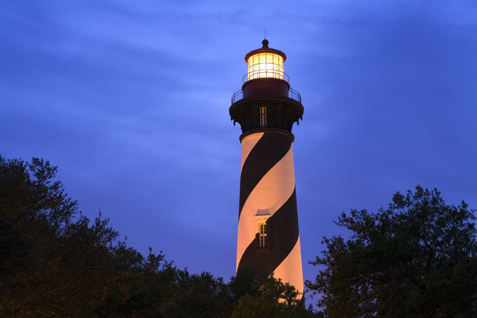 St Augustine Lighthouse at night.