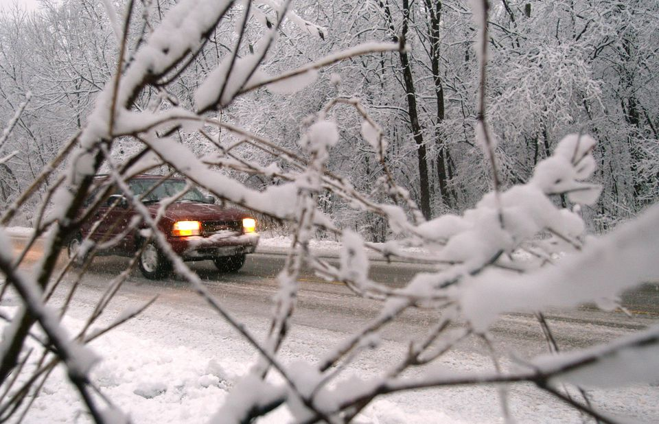 An SUV is visible as it drives along a road through a snowy forest area March 2, 2002 in Des Plaines, IL. a suburb northwest of Chicago.