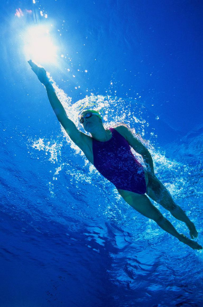 Woman swimming at surface of pool, underwater view