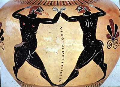 Boxers, one with blood, by the Nikosthenes painter. Attic Black-Figure Amphora, ca. 520-510 B.C.