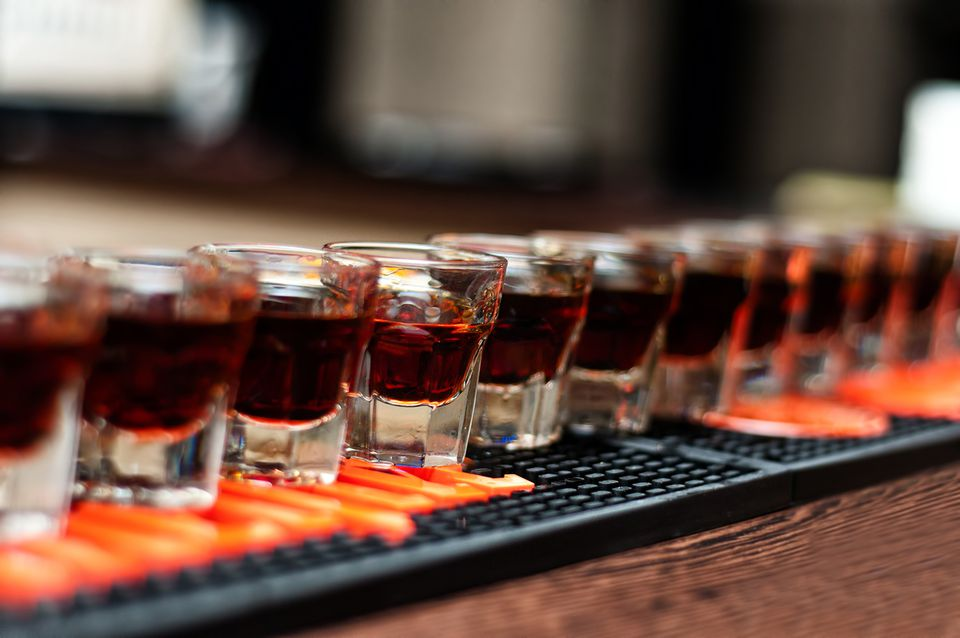 A round of Fireball shooters on the bar