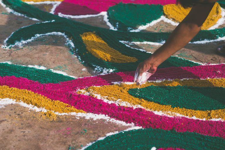 Cropped Image Of Person Making Rangoli