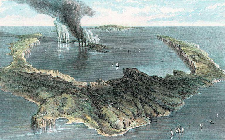 1866 Image of Santorini's Eruption circa 1500 BC