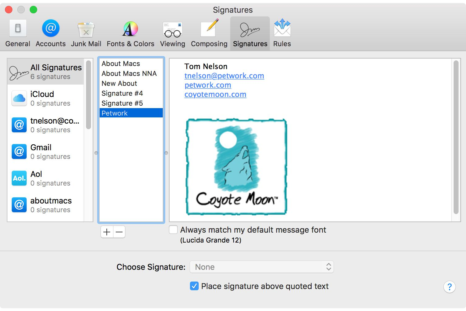 How to Set a Default Signature in Mac OS X Mail