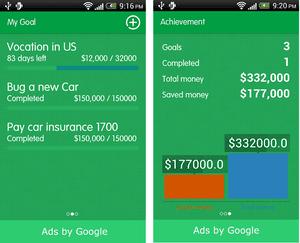 Savings Track for Android tracks progress made toward savings goals.