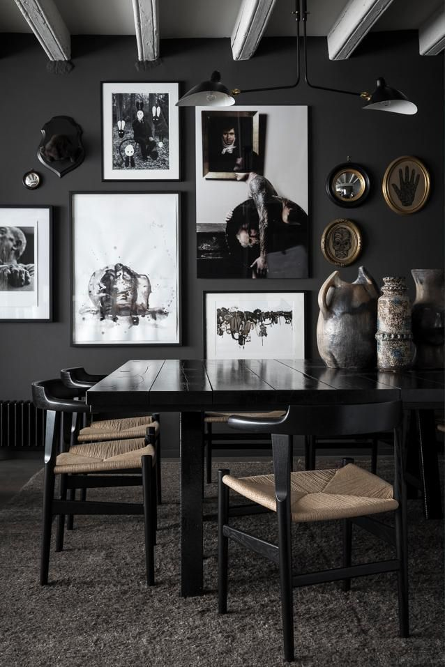 Black Dining Room Lacquer Table With Gallery Wall 79 Ideas