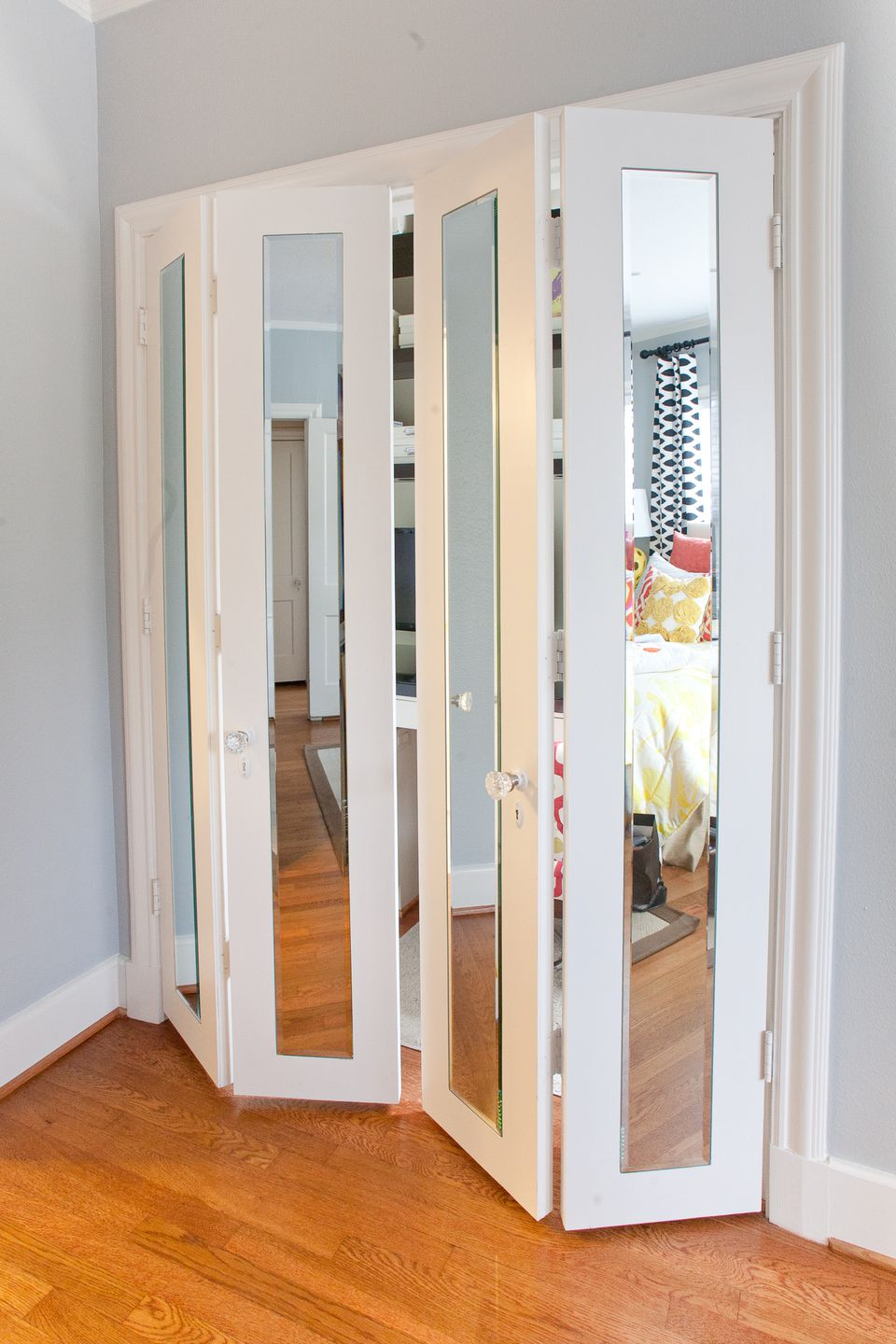 Mirror on Closet Doors.