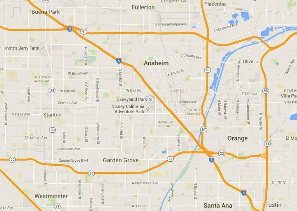 Map of Disneyland in Anaheim