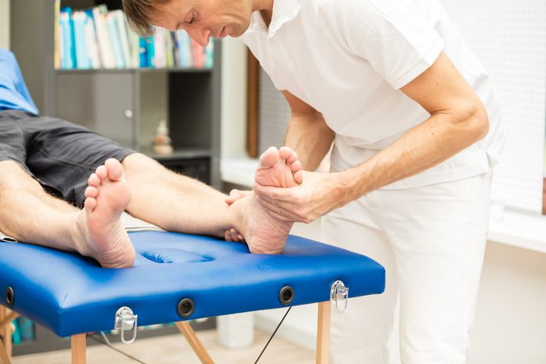 Testing mobility of foot.