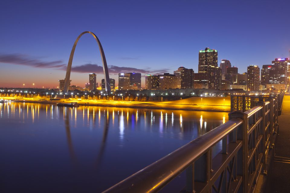 The skyline of St. Louis, Missouri at night