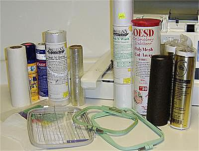 A photo of machine embroidery hoops and stabilizers.