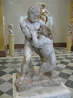 Hercules Fights the Nemean Lion. From a Roman Sarcophagus of the 2nd-3rd Century A.D.