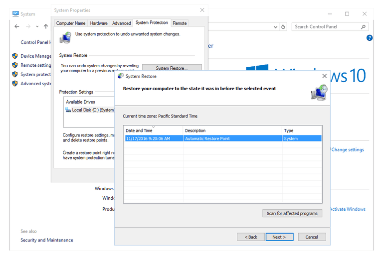 Screenshot of the System Restore utility in Windows 10