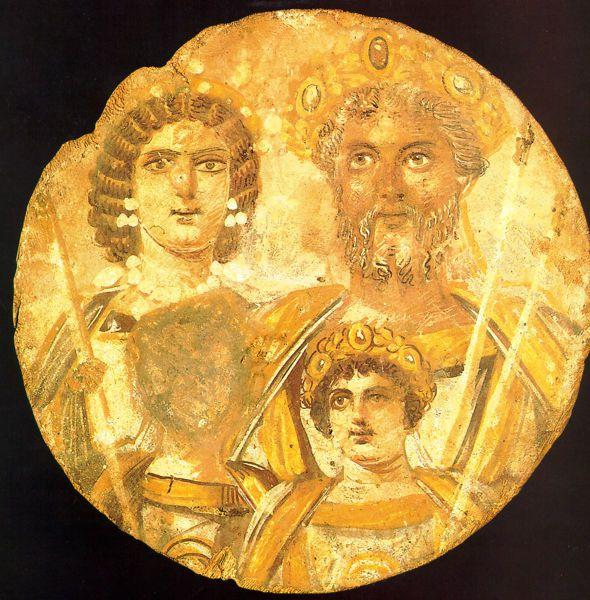 Severan Dynasty showing Julia Domna, Septimius Severus, and Caracalla, but no Geta